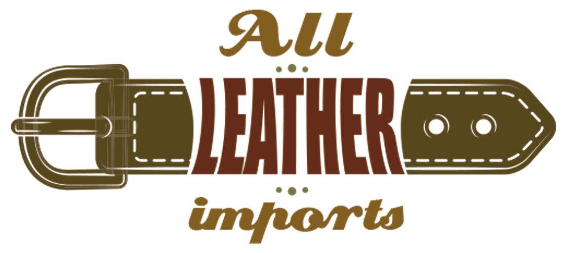 Logo. All Leather Imports. Shows a belt and the name of the company
